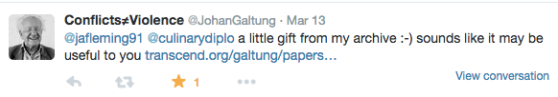Tweet from Johan Galtung